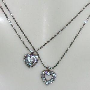 Jewelry - New Sliver tone and rhinestone hearts necklace-2 i